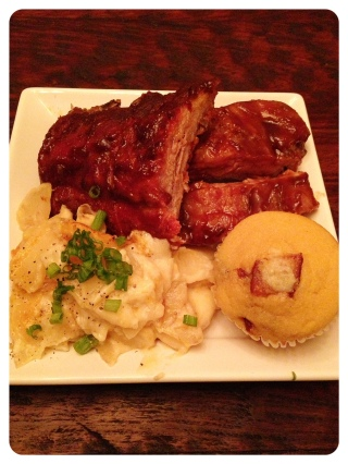 Ribs and Cheddar Bacon Corn Muffins